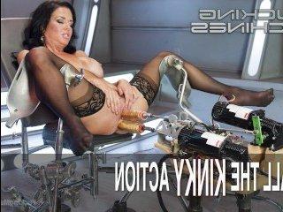 Внушительная секс машина ебет молодую шатенку металлическим членом